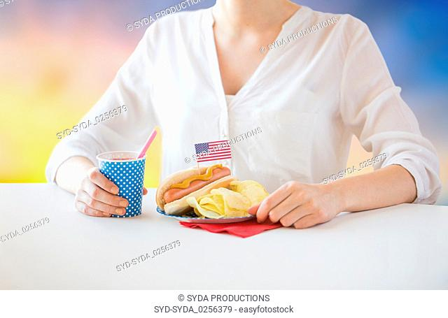 woman celebrating american independence day
