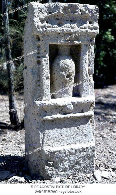 Tophet, stele with a bottle-shaped idol. Phoenician civilisation, Archaic period.  Carthage, Musée National De Carthage (Archaeological Museum)
