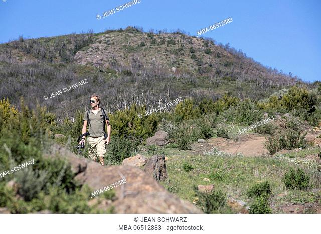 Hiker on the trail 16, La Gomera. In the background you can see the damage of conflagration in 2012
