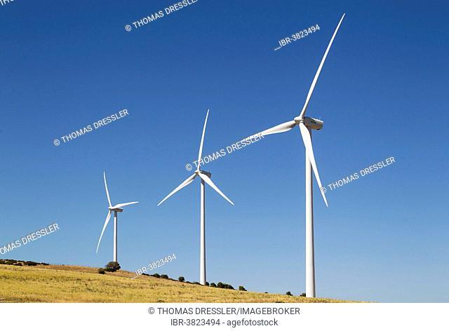 Windmills on a wind farm near Zahara de los Atunes, Cádiz province, Andalucía, Spain