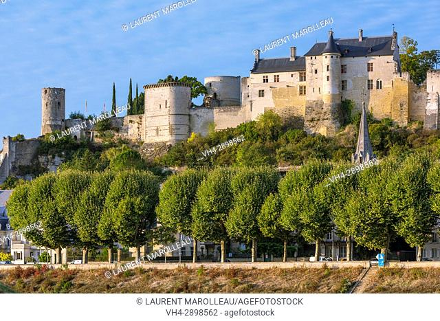 The City and the Royal Fortress of Chinon. Indre-et-Loire, Central Region, Loire Valley, France, Europe