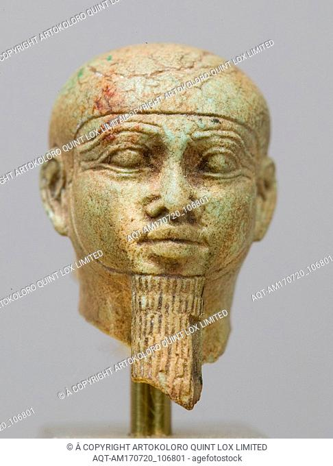 Head, Ptah, Third Intermediate Period–Kushite Period, Dynasty 25, late 8th–mid 7th century B.C., From Egypt, Limestone, H. 5/8 in