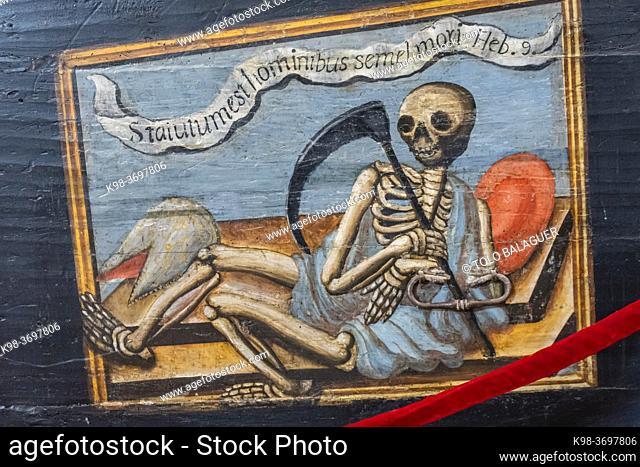 catafalque, dance of death, 16th century, Museo de la Caballada, Church of the Holy Trinity, Atienza, Guadalajara, Spain