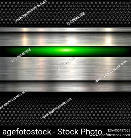 Background, polished metal texture with holes pattern textured backdrop, vector illustration