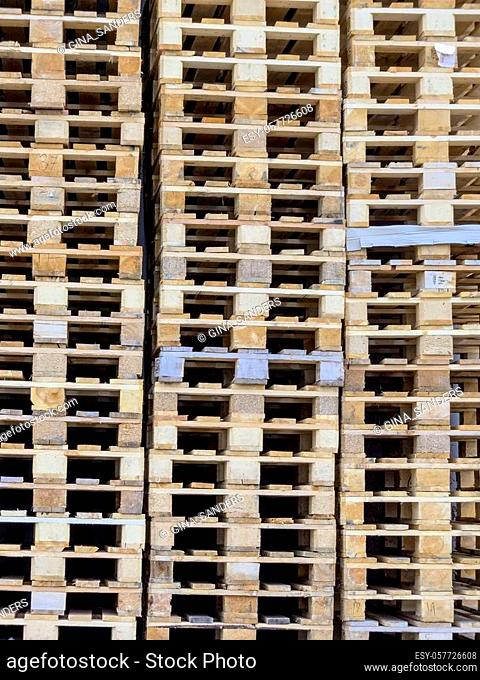 stacked pallets, symbol photo for freight transport and logistics