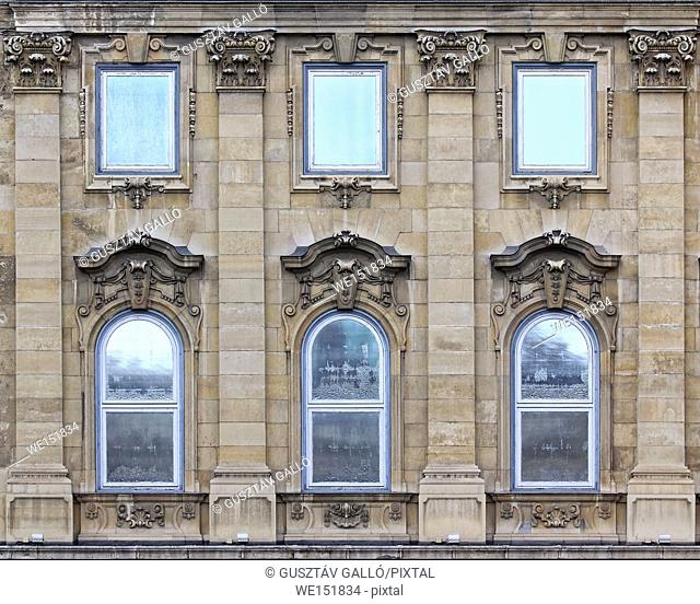 Budapest, Hungary, Buda castle district gothic windows