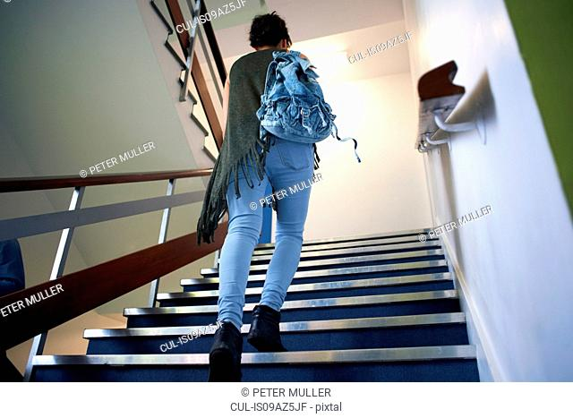 Young female college student moving up stairway