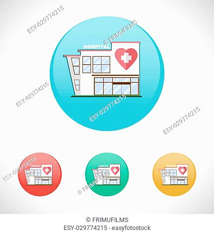 Hospital Building with Two Floors and a Parking Lot. Healthcare Institution. Digital background medical vector illustration