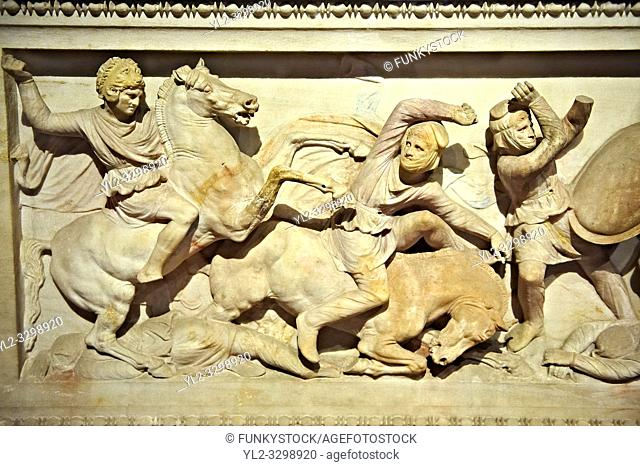 Greek relief sculptures on Alexander The Great ( Alexander III of Macedon ) 4th Cent BC. Sarcophagus calved from Pentelic Marble from the Royal Necropolis of...
