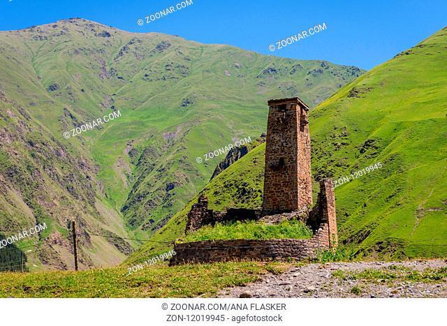 Old tower in Sno, Kazbegi mountains, Georgia