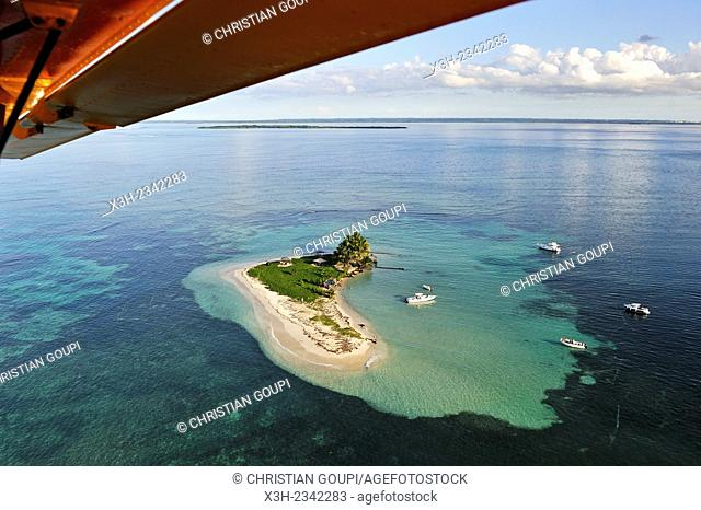aerial view of Caret Islet, Grand Cul-de-sac Marin, off the coast of Sainte-Rose, Basse-Terre, Guadeloupe, overseas region of France, Leewards Islands