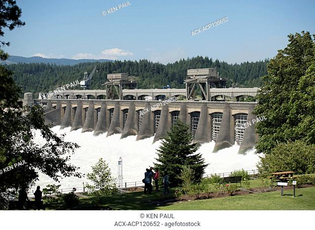 The Bonneville Lock and Dam located on the Columbia River in Oregon, USA, a National Historic Landmark