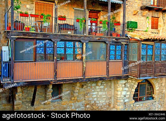 balconies and galleries on the Matarraña river, Valderrobres, Teruel, Spain
