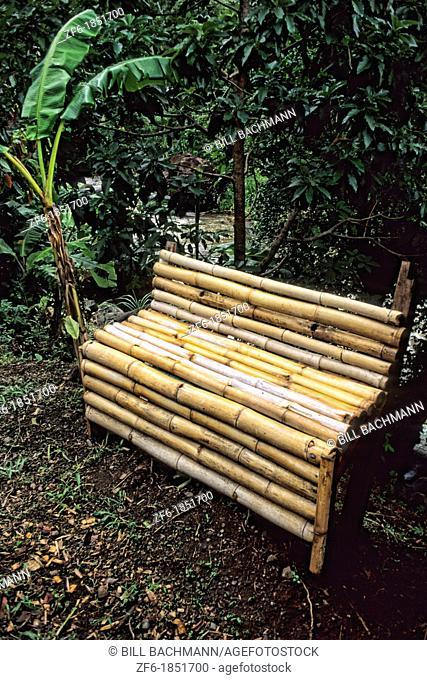 Small Sugar Cane Bench in colorful quaint Grenada Caribbean