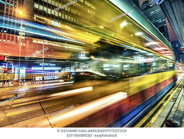 HONG KONG: Traffic light trails in the night. Public transportation is used by more tha 90 percent of population