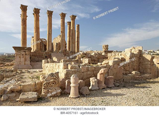Building fragments in front of Artemis Temple, built in the 2nd century AD, ancient Roman city of Jerash, part of the Decapolis, Jerash, Jerash Governorate