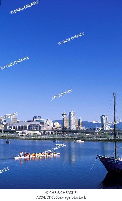 Dragon boat racers in False creek, Vancouver, British Columbia, Canada