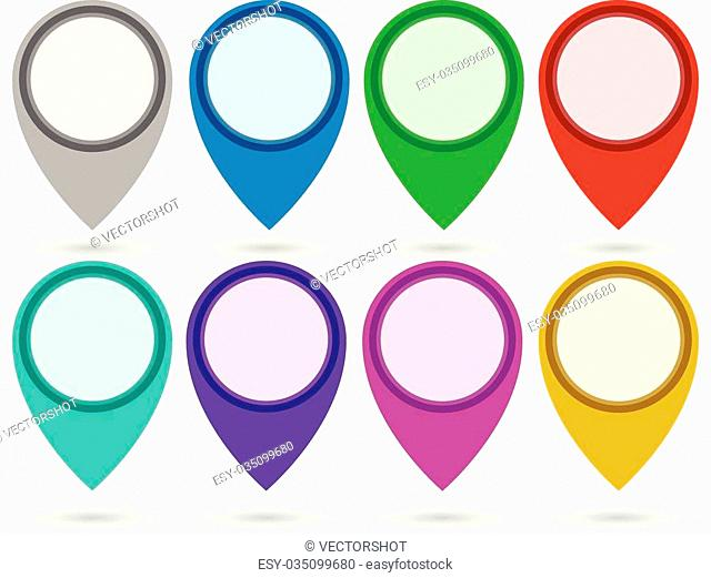 Eps 10 Vector Illustration of Map marker, location marker, map pin set in 8 colors. Eps 10