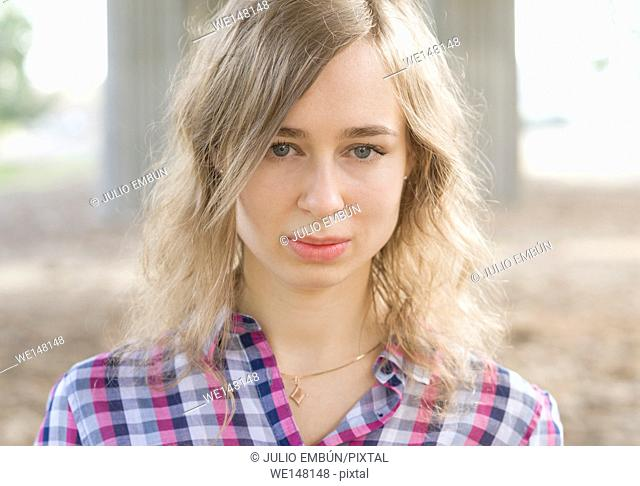 outdoor portrait of a girl beautiful, young blonde