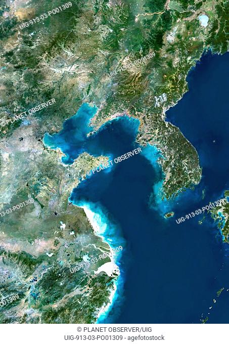 Yellow Sea, Asia, True Colour Satellite Image. True colour satellite image of the Yellow Sea, the northern part of the East China Sea