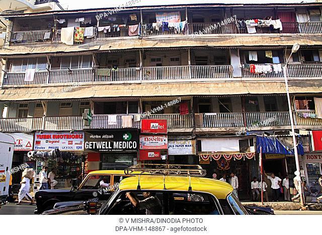 Old taraporwala building chawl mass urban housing ; August kranti marg ; Grant Road ; Bombay Mumbai ; Maharashtra ; India