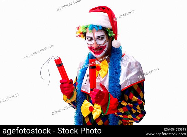 The young funny clown comedian isolated on white