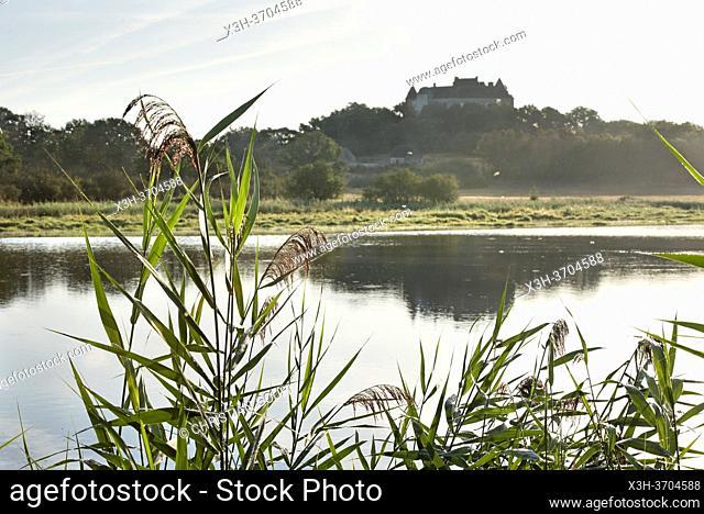 Etang de la Mer Rouge avec le Chateau du Bouchet en arriere-plan, Parc naturel regional de la Brenne, departement de l'Indre, Province historique du Berry
