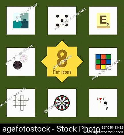 Flat Icon Play Set Of Cube, Backgammon, Mahjong And Other Vector Objects. Also Includes Dice, Cards, Enigma Elements