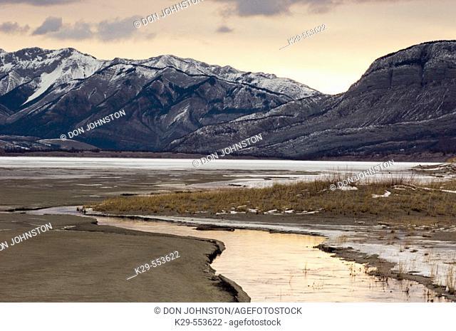 Water channel in Jasper Flats at dawn. Jasper National Park, Alberta, Canada