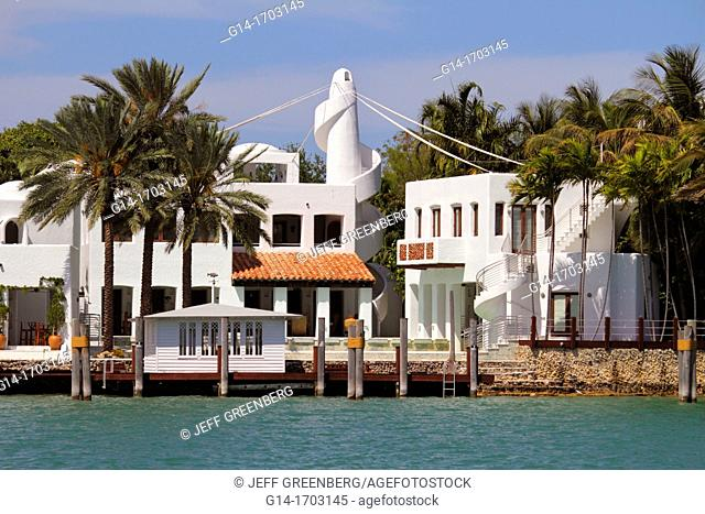 Florida, Miami Beach, Biscayne Bay, Hibiscus Island, 24 South Hibiscus Drive, waterfront home, mansion, palm trees