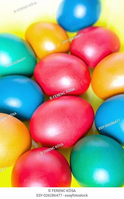 Red Blue Yellow Colored Easter Eggs from Above