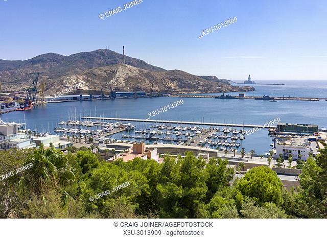View over Torres Park and that marina from the Castle of the Conception in the Mediterranean city of Cartagena, Spain