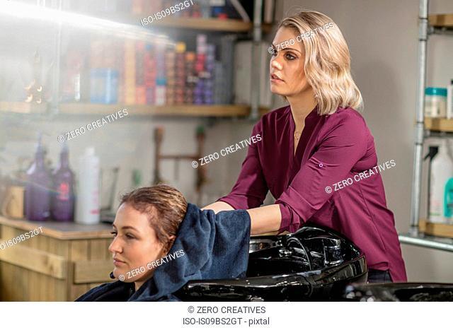 Hairdresser drying customer's hair in salon