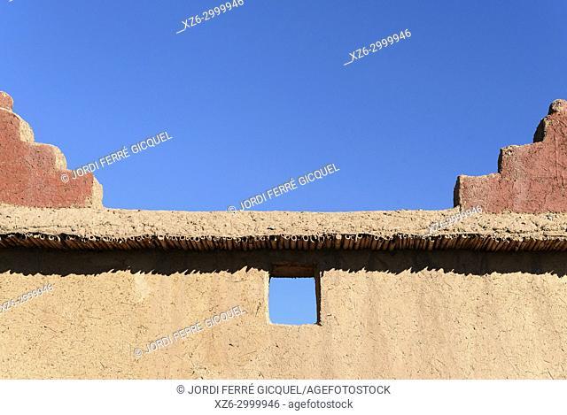Typical adobe wall, Palmeraie de Skoura, Skoura, Morocco, Africa