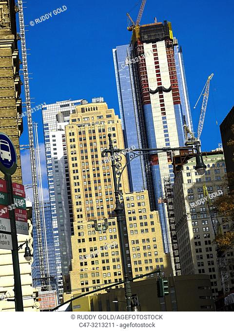 New York City, US. Buildings in Lower Manhattan as seen from Battery Pl