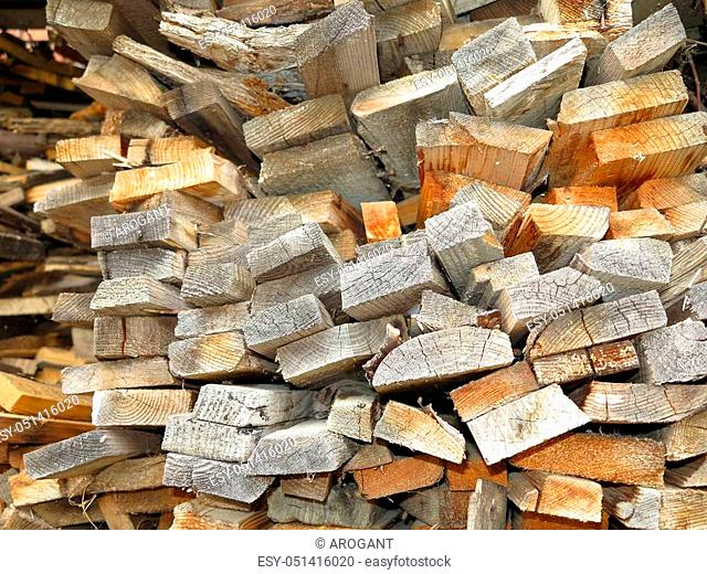 Abstract background of dry stack old plank firewood