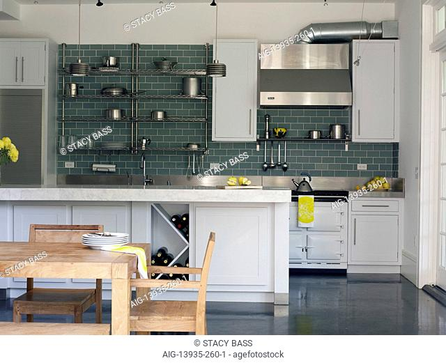 Modern kitchen with white fitted units, USA