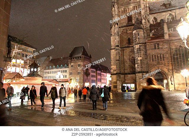 "NUREMBERG, GERMANY - CIRCA DEC 2013 - Christmas Market at night circa December 2013 in Nuremberg. Annual """"Christkindles markt"""" is one of the biggest Christmas..."