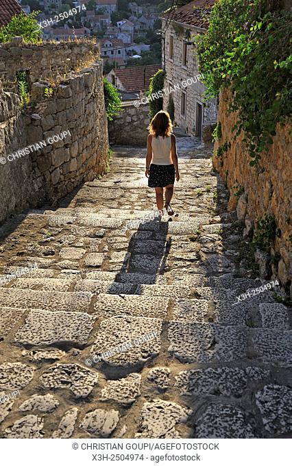 cobbled sidestepping, Lastovo town, Lastovo island, Croatia, Southeast Europe