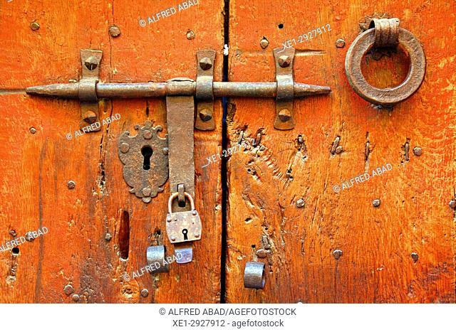 Wooden door with padlock, Castello d'Empuries, Girona, Catalonia, Spain