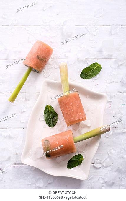 Guava ice cream with mint