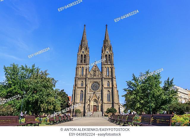 Prague Church of St. Ludmila, summer view