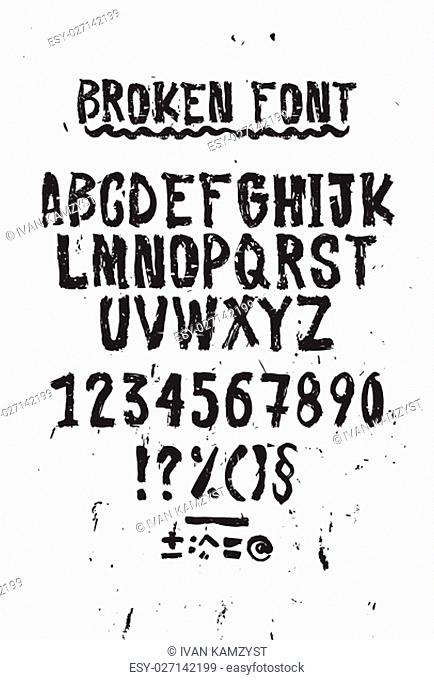 Simple universal font, letters and numbers. Imitation handmade lettering brush on paper