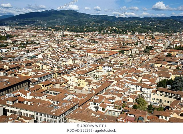 View from cathedral Santa Maria del Fiore Florence Tuscany Italy