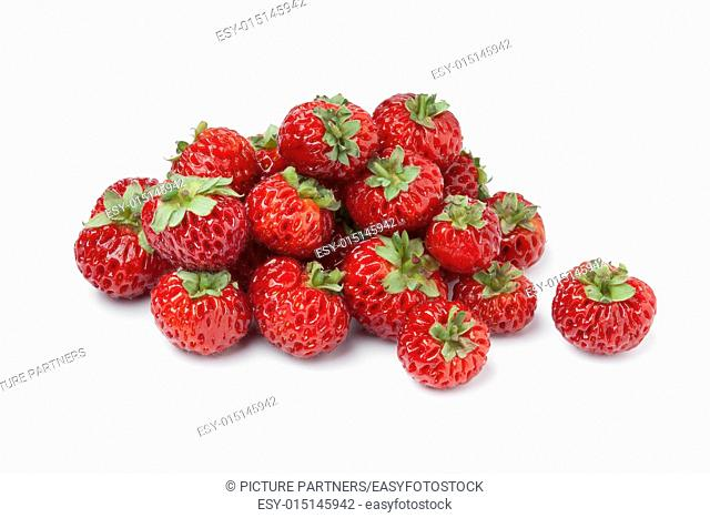 Heap of fresh ripe strasberries on white background