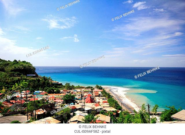 View of coast and holiday resort, St Lucia, Caribbean