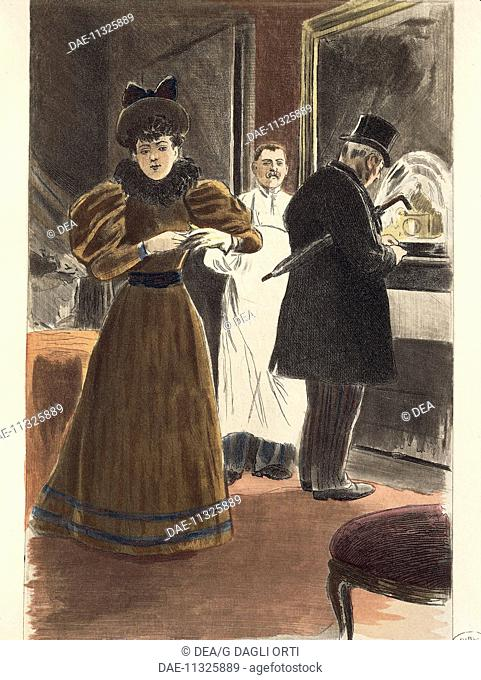 France, 19th century. Gallantry at the Hotel. Engraving by F. Masse, painted by Pierre Vidal, from Octave Uzanne (1851-1931)