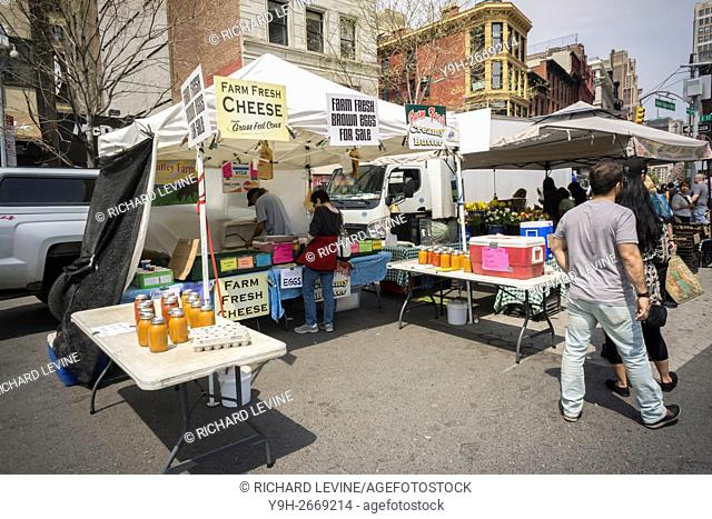 Butter, cheese and egg seller at the Union Square Greenmarket in New York