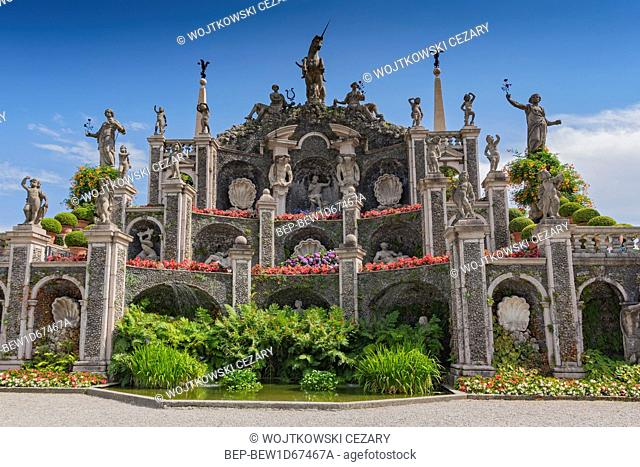 The Baroque water theatre at the end of the garden overlooking the lake Maggiore, Isola Bella Italy