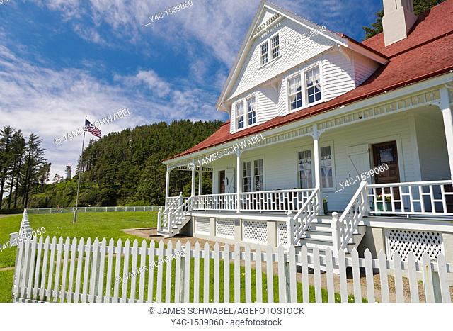 Lightkeepers House built in 1893 at Heceta Head Lighthouse on the Pacific Ocean coast of Oregon